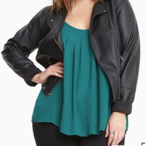 Torrid Forest Green X-Back Pleated Top - 00 - NWT